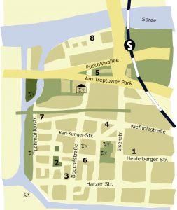 Karte von Alt-Treptow mit Nummern